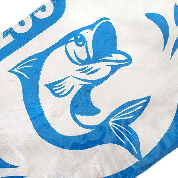 ベトナム 飼料袋 リメイク バッグ(肩掛けOK マチ付き 魚 ブルー)【画像3】