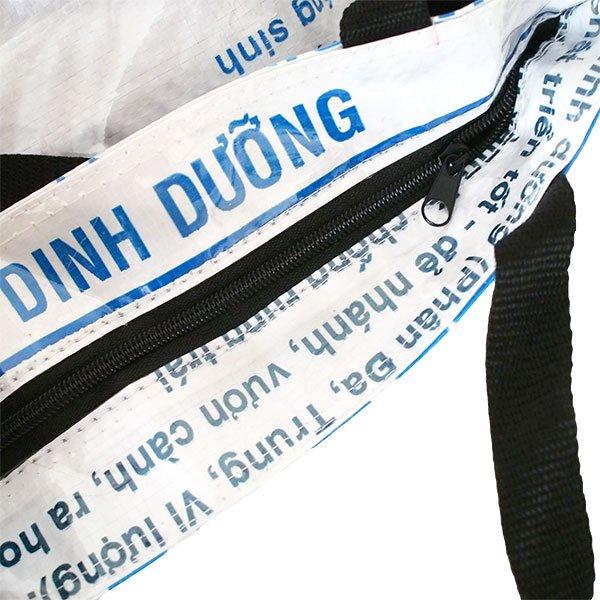 ベトナム 飼料袋 リメイク バッグ(肩掛けOK マチ付き 魚 ブルー)【画像4】