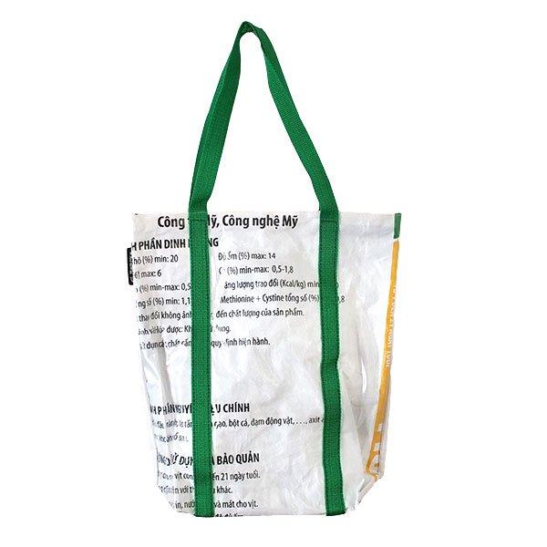 【訳あり】ベトナム 飼料袋 リメイク ショルダーバッグ(ビニールコーティング マチ付き ブタ ブルー)【画像2】