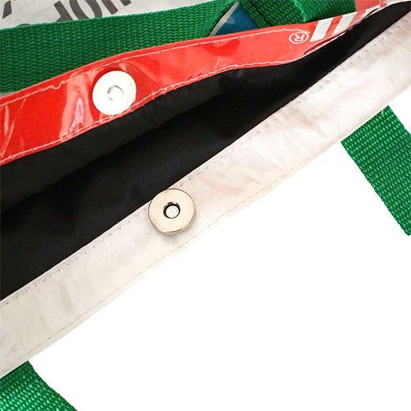 【訳あり】ベトナム 飼料袋 リメイク ショルダーバッグ(ビニールコーティング マチ付き ブタ ブルー)【画像7】