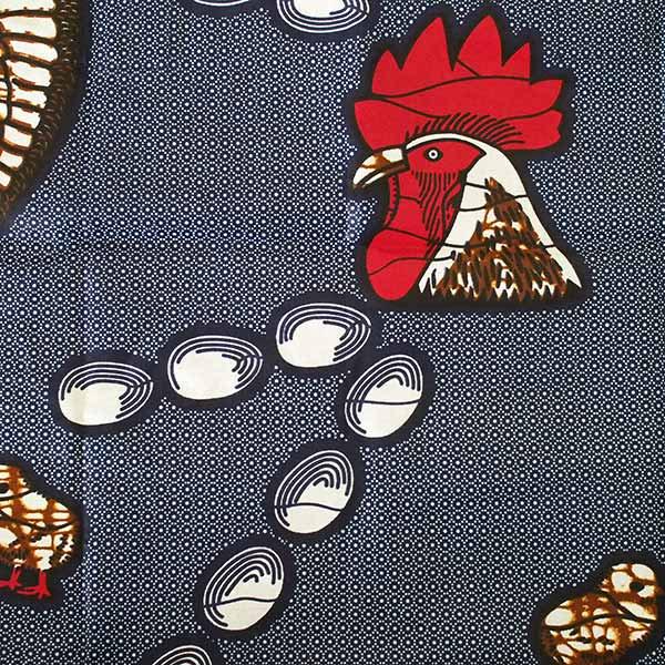 【HARMONY FOR PEACE】マリ 足踏みミシンで仕立てた パーニュ 巾着 エコバッグ(ニワトリ 大)【画像3】
