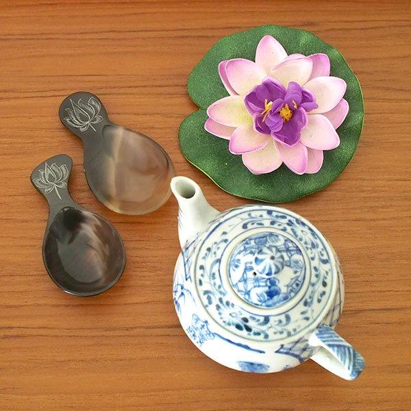 ベトナム 水牛の角 バッファローホーン 蓮の花 茶さじ (2タイプ)【画像5】