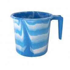 アフリカ マーブリング プラ セネガル プラスチックコップ(1リットル ブルー×ホワイト)