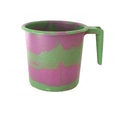 アフリカ マーブリング プラ セネガル プラスチックコップ(1リットル グリーン×ピンク)