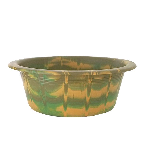 セネガル プラスチック 洗面器(直径 32cm ブラウン×グリーン)
