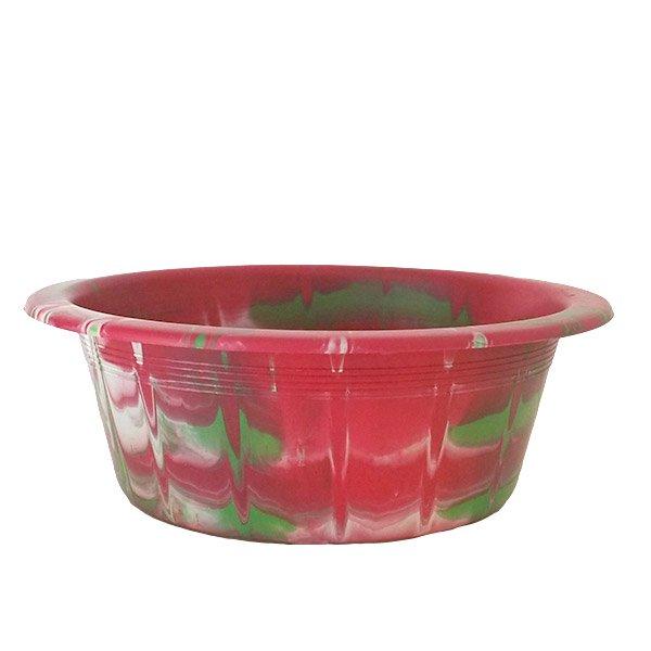 セネガル プラスチック 洗面器(直径 32cm レッド×グリーン)