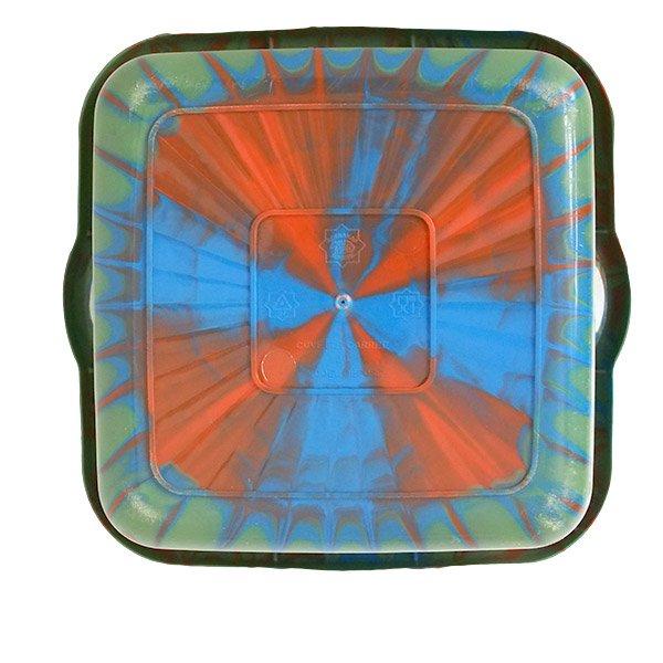 セネガル プラスチック 洗面器(四角 27cm グリーン×ブラウン)【画像2】