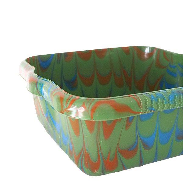 セネガル プラスチック 洗面器(四角 27cm グリーン×ブラウン)【画像3】
