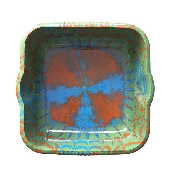 セネガル プラスチック 洗面器(四角 27cm グリーン×ブラウン)【画像5】
