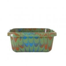 セネガル プラスチック 洗面器(四角 27cm グリーン×ブラウン)