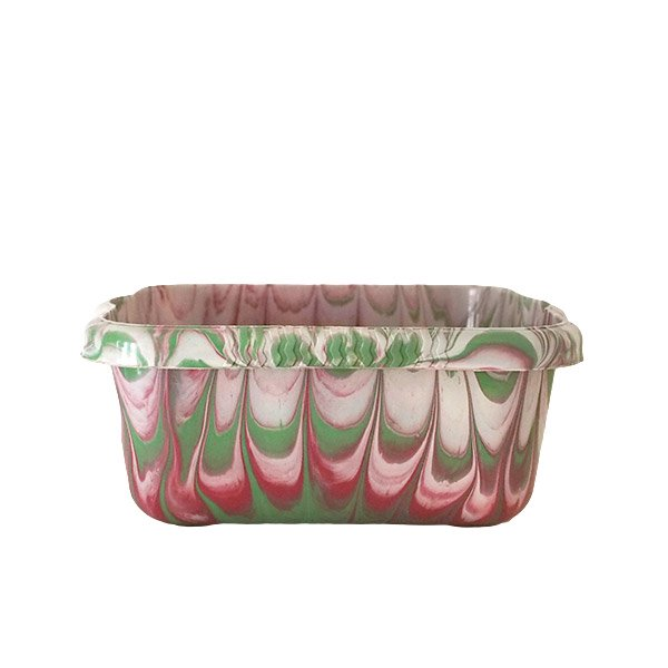 セネガル プラスチック 洗面器(四角 27cm レッド×グリーン×ホワイト)