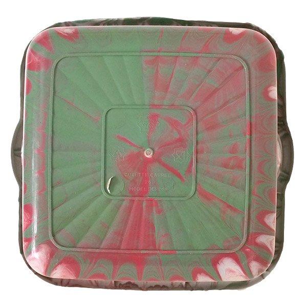 セネガル プラスチック 洗面器(四角 27cm レッド×グリーン×ホワイト)【画像2】