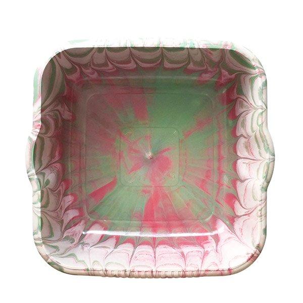 セネガル プラスチック 洗面器(四角 27cm レッド×グリーン×ホワイト)【画像5】