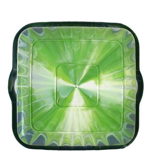 セネガル プラスチック 洗面器(四角 27cm ダークブルー×キミドリ)【画像2】