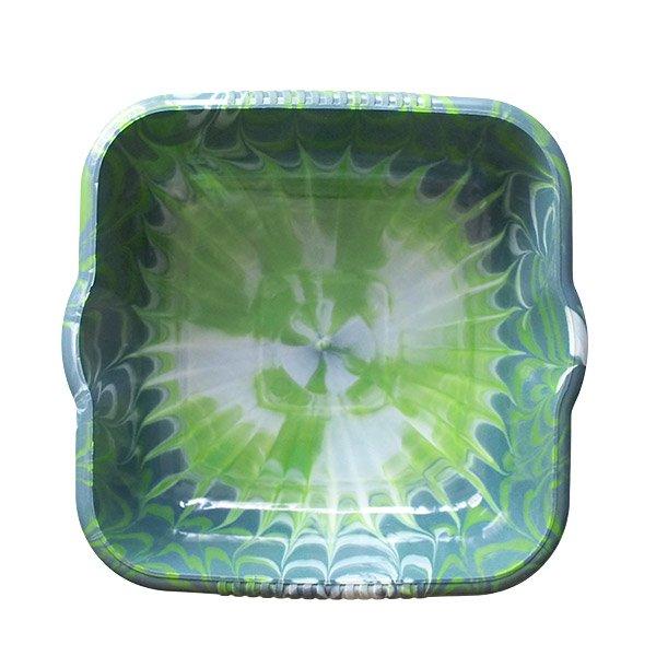 セネガル プラスチック 洗面器(四角 27cm ダークブルー×キミドリ)【画像5】
