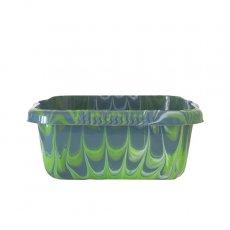 セネガル プラスチック 洗面器(四角 27cm ダークブルー×キミドリ)