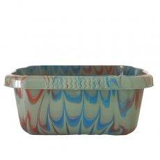 セネガル プラスチック 洗面器(四角 30cm グレー×ブルー×ブラウン)
