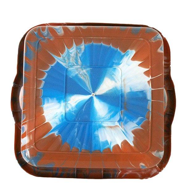 セネガル プラスチック 洗面器(四角 30cm ライトブラウン×グレー×ホワイト)【画像2】