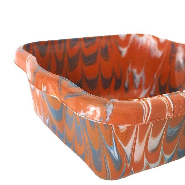 セネガル プラスチック 洗面器(四角 30cm ライトブラウン×グレー×ホワイト)【画像3】