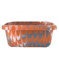 セネガル プラスチック 洗面器(四角 30cm ライトブラウン×グレー×ホワイト)