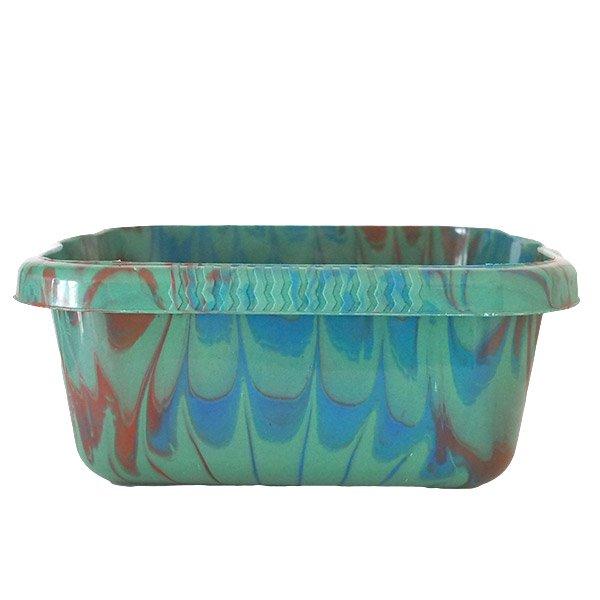 セネガル プラスチック 洗面器(四角 30cm グリーン×ブラウン×ブルー)