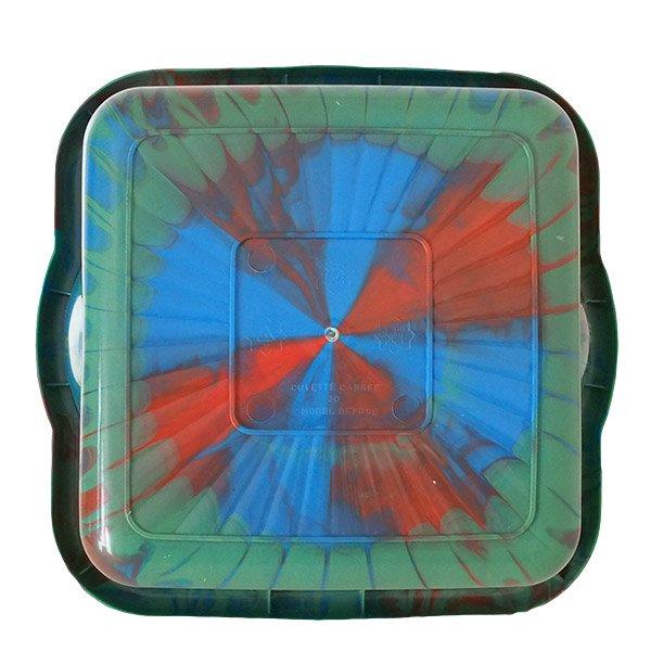 セネガル プラスチック 洗面器(四角 30cm グリーン×ブラウン×ブルー)【画像2】