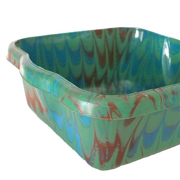 セネガル プラスチック 洗面器(四角 30cm グリーン×ブラウン×ブルー)【画像3】