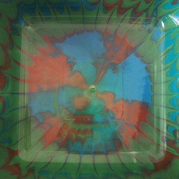 セネガル プラスチック 洗面器(四角 30cm グリーン×ブラウン×ブルー)【画像4】