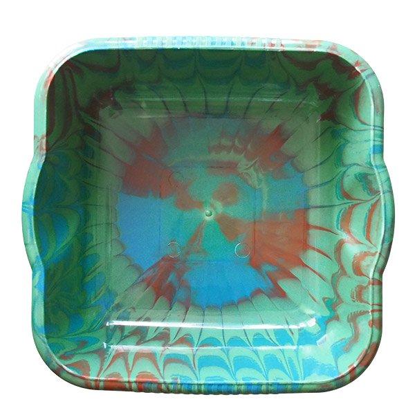 セネガル プラスチック 洗面器(四角 30cm グリーン×ブラウン×ブルー)【画像5】