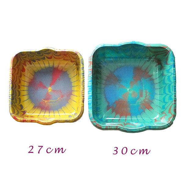 セネガル プラスチック 洗面器(四角 30cm グリーン×ブラウン×ブルー)【画像6】
