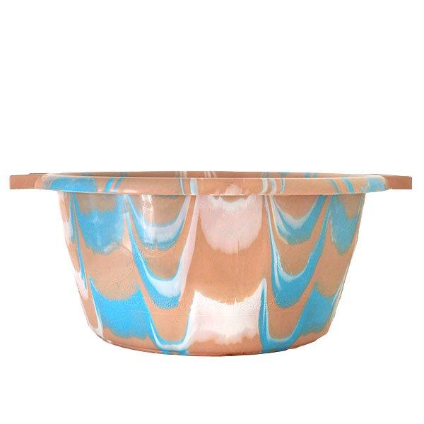 セネガル プラスチック持ち手付きの桶(薄めブラウン×ブルー  15リットル)