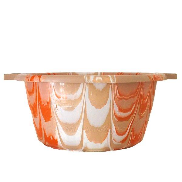 セネガル プラスチック持ち手付きの桶(薄めブラウン×オレンジ  15リットル)