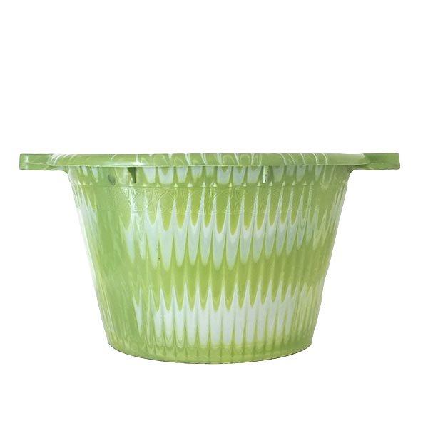 セネガル プラスチック持ち手付きの桶(グリーン×ホワイト  12リットル)