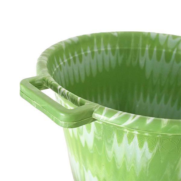 セネガル プラスチック持ち手付きの桶(グリーン×ホワイト  12リットル)【画像3】
