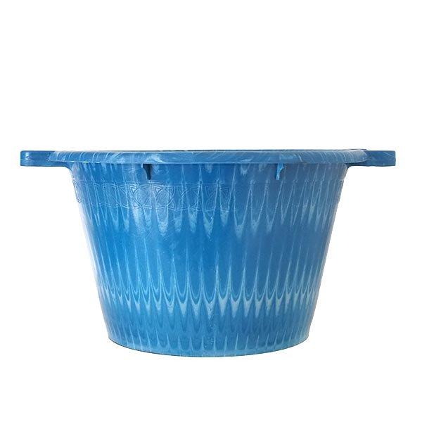 セネガル プラスチック持ち手付きの桶(ブルー×ホワイト  12リットル)