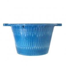 新入荷・再入荷 セネガル プラスチック持ち手付きの桶(ブルー×ホワイト  12リットル)