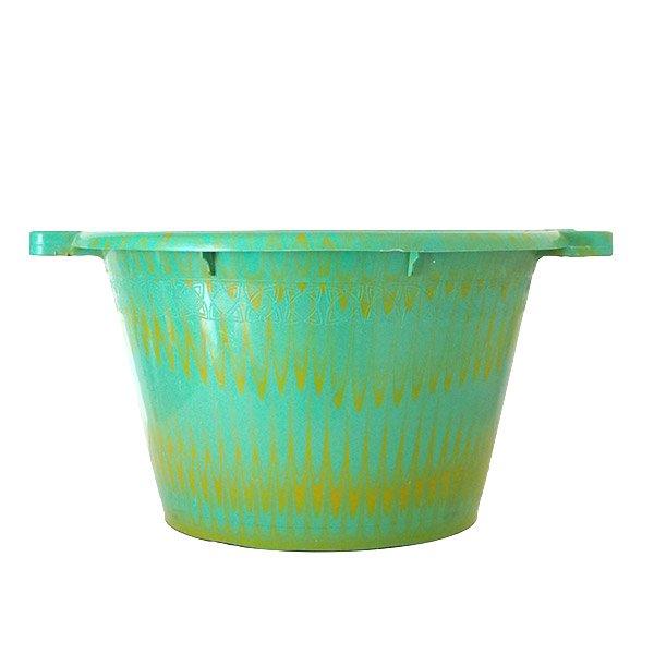 セネガル プラスチック持ち手付きの桶(グリーン×イエロー  12リットル)