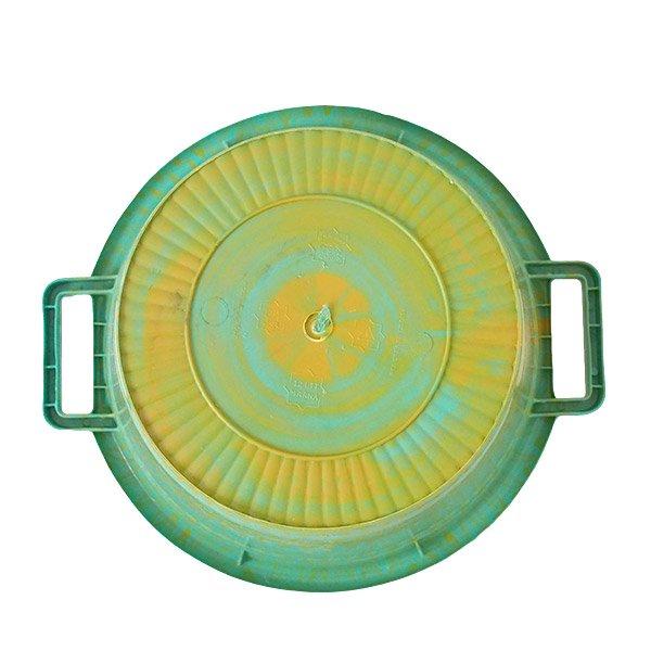 セネガル プラスチック持ち手付きの桶(グリーン×イエロー  12リットル)【画像2】
