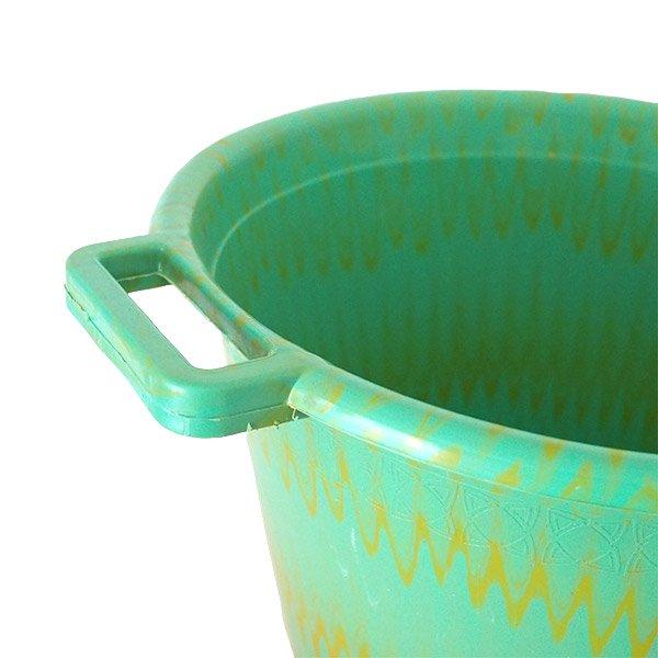 セネガル プラスチック持ち手付きの桶(グリーン×イエロー  12リットル)【画像3】