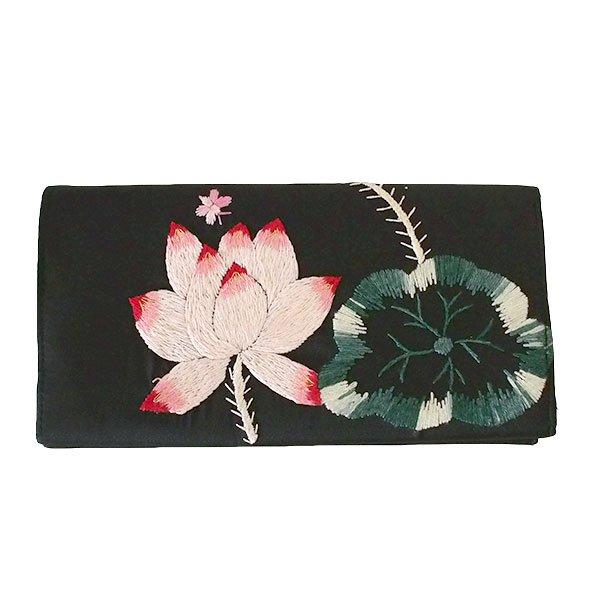 ベトナム 蓮 ロータス 刺繍 長財布(ブラック)