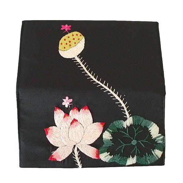 ベトナム 蓮 ロータス 刺繍 長財布(ブラック)【画像2】