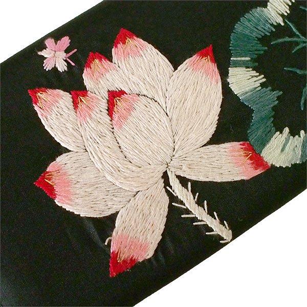 ベトナム 蓮 ロータス 刺繍 長財布(ブラック)【画像3】