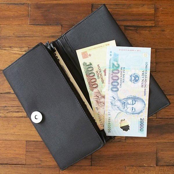 ベトナム 蓮 ロータス 刺繍 長財布(ブラック)【画像8】