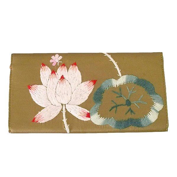 ベトナム 蓮 ロータス 刺繍 長財布(ブラウン)