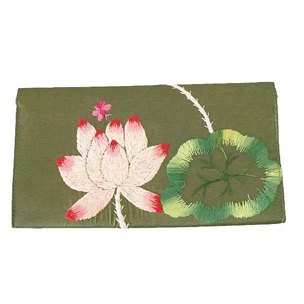 ベトナム 蓮 ロータス 刺繍 長財布(グリーン)