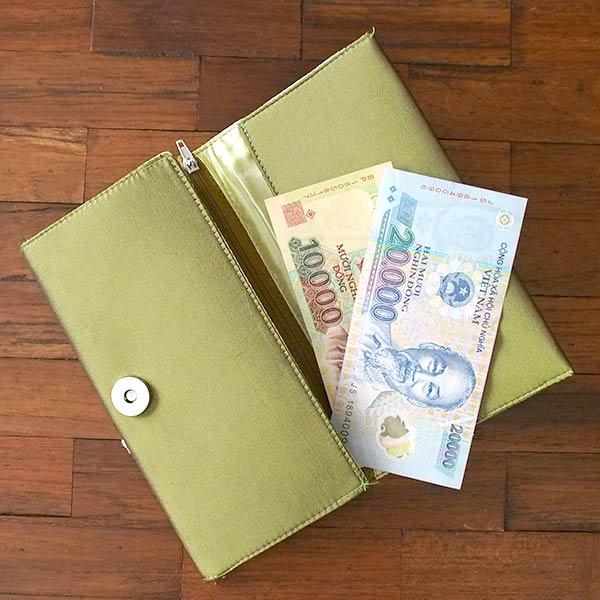 ベトナム 蓮 ロータス 刺繍 長財布(グリーン)【画像8】