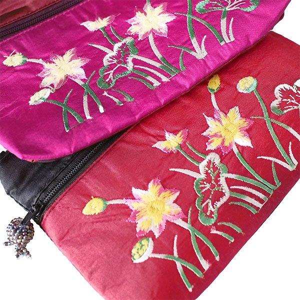 ベトナム ロータス 蓮の花  刺繍 ポーチ(ビーズ チャック 4色)【画像2】