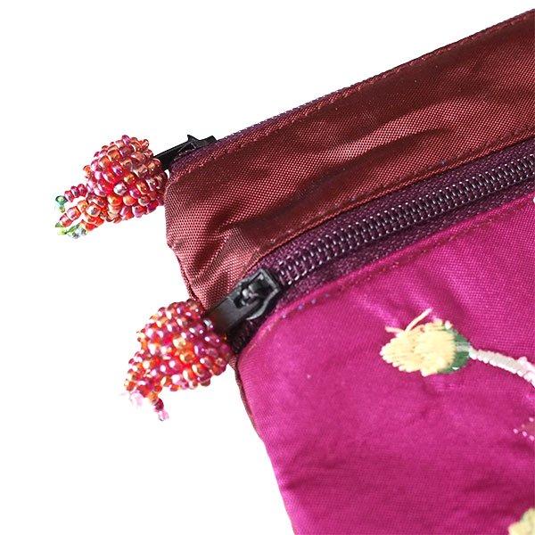 ベトナム ロータス 蓮の花  刺繍 ポーチ(ビーズ チャック 4色)【画像5】