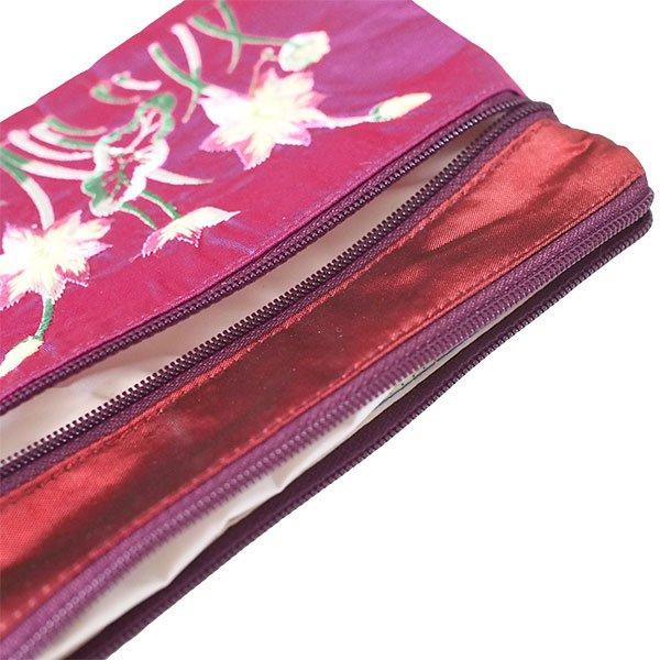 ベトナム ロータス 蓮の花  刺繍 ポーチ(ビーズ チャック 4色)【画像6】