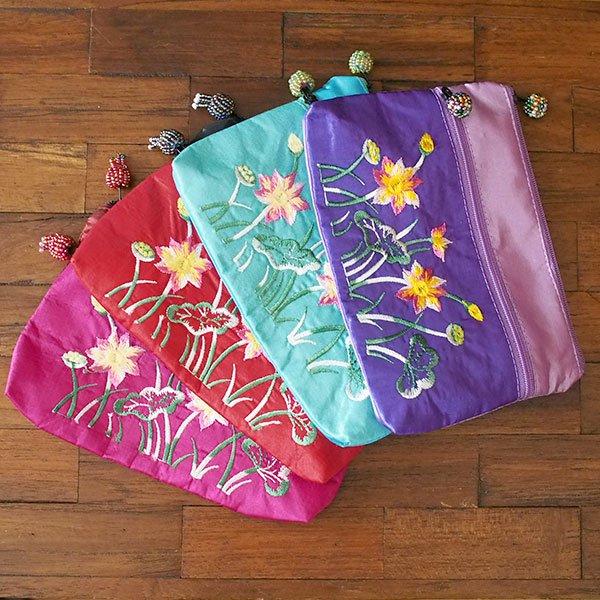 ベトナム ロータス 蓮の花  刺繍 ポーチ(ビーズ チャック 4色)【画像7】
